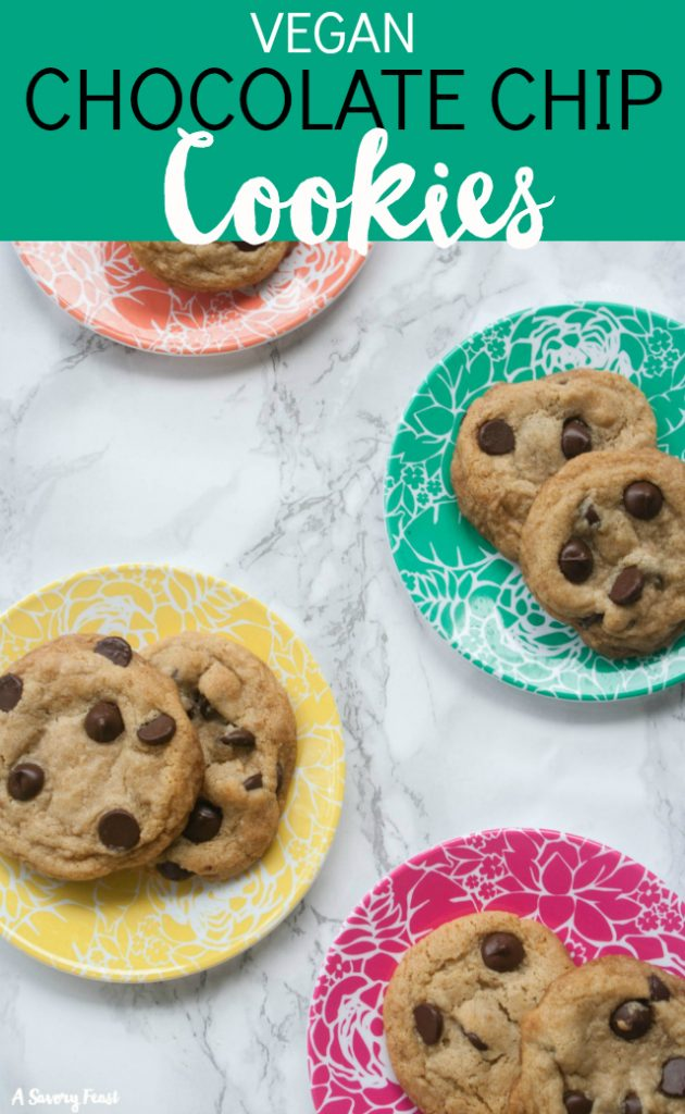 These are the BEST chocolate chip cookies. No one will believe that they are vegan! Soft, fluffy, sweet and delicious. These Vegan Chocolate Chip Cookies are the perfect afternoon snack!