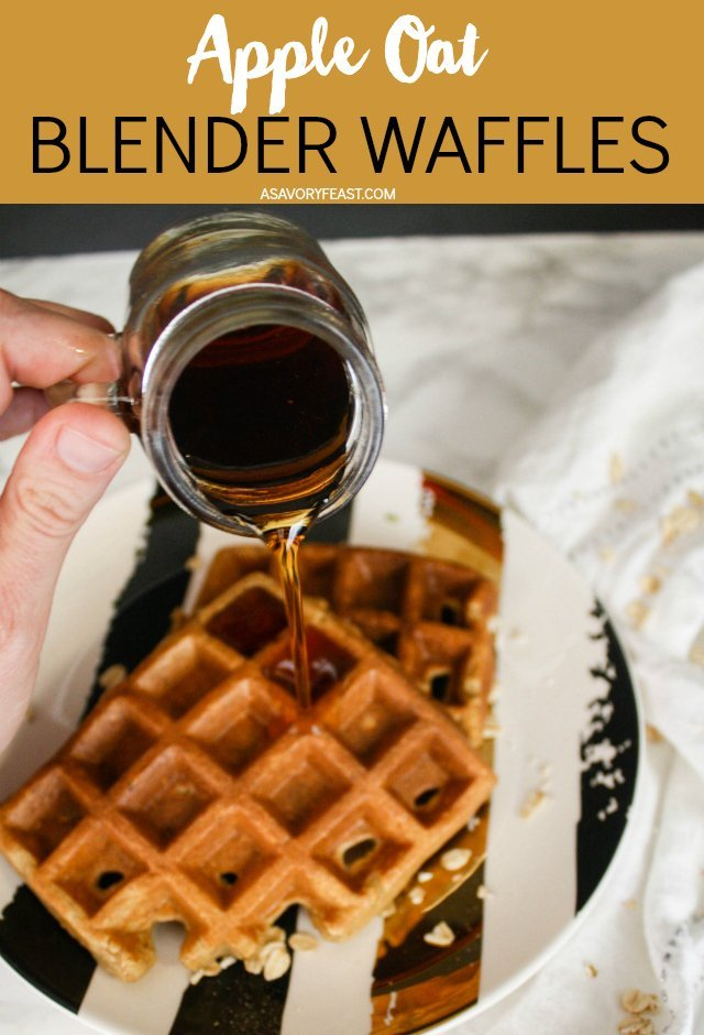 Waffles can be easy enough for a weekday breakfast! These Apple Oat Blender Waffles are mixed up in a blender to make things super simple and then poured into a waffle iron to bake. Made with oats instead of flour and sweetened with apple sauce and honey.
