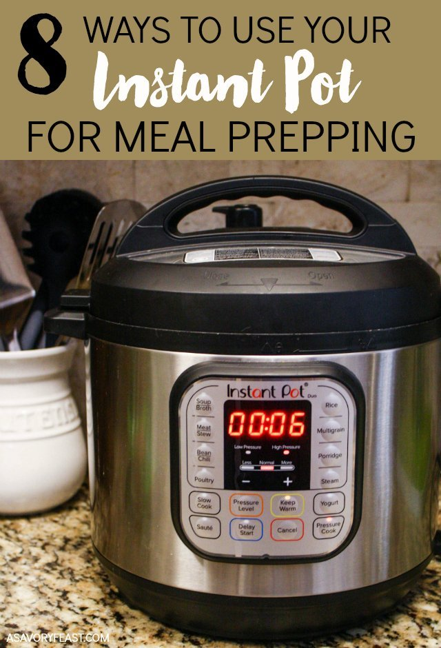 8 ways to use your Instant Pot to make meal prepping easier! The Instant Pot is for much more than making easy meals. Use it to meal prep lots of different things that you can use for your packed lunch or to make dinner time easier.