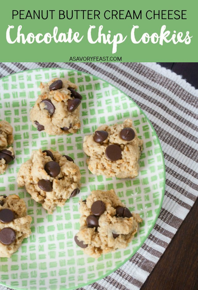 The perfect little snack when you are craving cookies! Peanut Butter Cream Cheese Chocolate Chip Cookies use cream cheese instead of butter for an amazing texture.