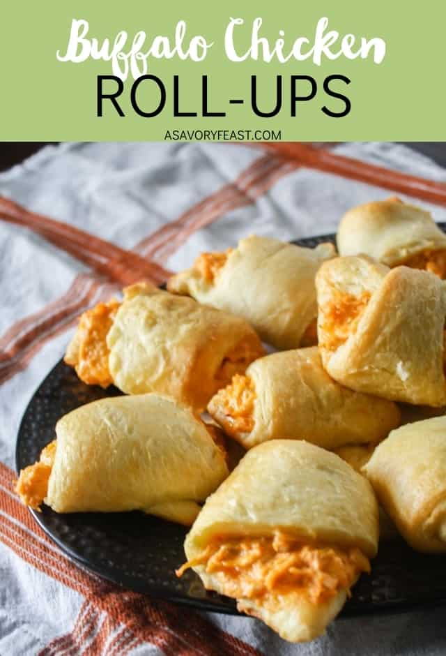 Buffalo Chicken Roll-ups are just the recipe you need for game day or a party! An easy appetizer that is made in minutes and always a hit. If you love buffalo chicken dip, this delicious finger-food will be your new favorite.