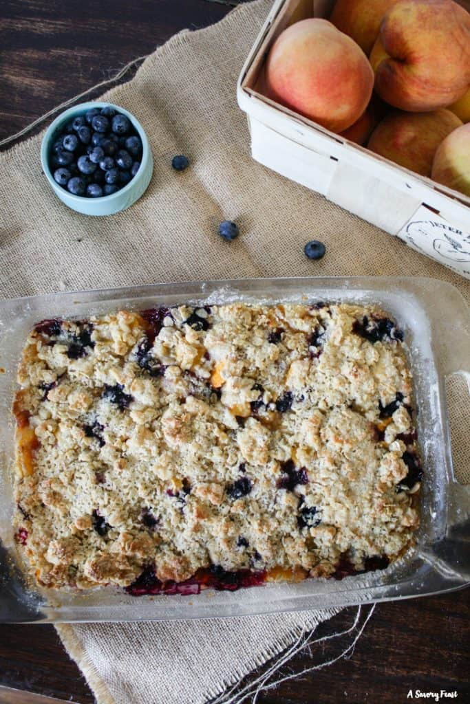 Yummy dessert to make with fresh peaches and blueberries: Blueberry Peach Crumb Bars.