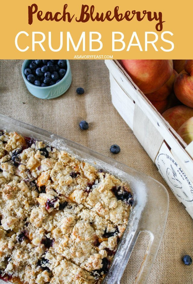 Fresh blueberries and peaches go together perfectly in these delicious crumb bars! A sweet and crumbly oat mixture is layered around the fruits for a treat that is delicious served cold or warmed up and topped with vanilla ice cream.