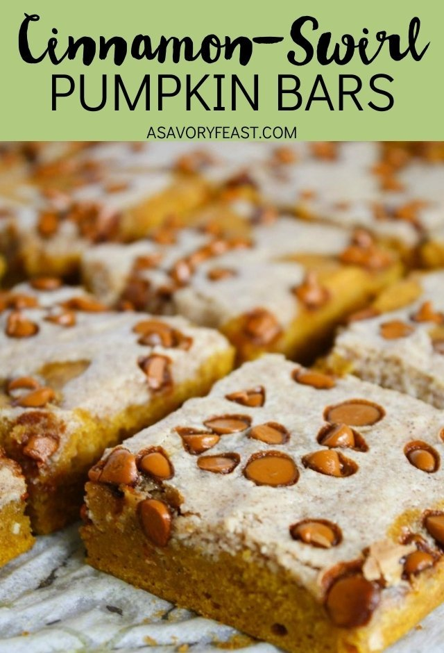 Cinnamon-Swirl Pumpkin Bars need to be on your Fall baking list this year! A simple pumpkin bar base swirled with a cinnamon cream cheese mixture and topped with cinnamon chips. This dessert is packed with your favorite Fall flavors!