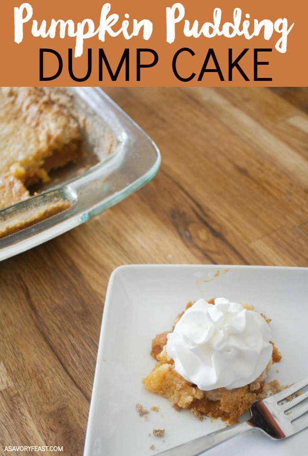 You can't beat an easy dump cake! This Pumpkin Pudding Dump Cake is perfect for Fall. An easy pumpkin pudding layer topped with a boxed cake mix and a stick of butter for a simple and festive dessert. Great for when you have last minute guests!
