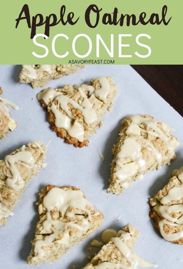 Apple Oatmeal Scones with Maple Glaze // Fall means hot cups of coffee paired with delicious treats! Apple is a must this time of year. These scones combine fresh apples and oats with a sweet maple glaze. You won't believe how easy they are to make!