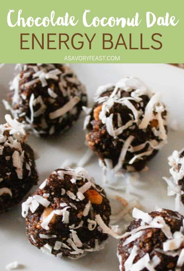 Grab a healthy snack for at home or on the go with these Chocolate Coconut Date Energy Balls. Easy to make in under 15 minutes and great for a meal prep snack. Refined sugar free and made with nutritious ingredients like dates, nuts and coconut.