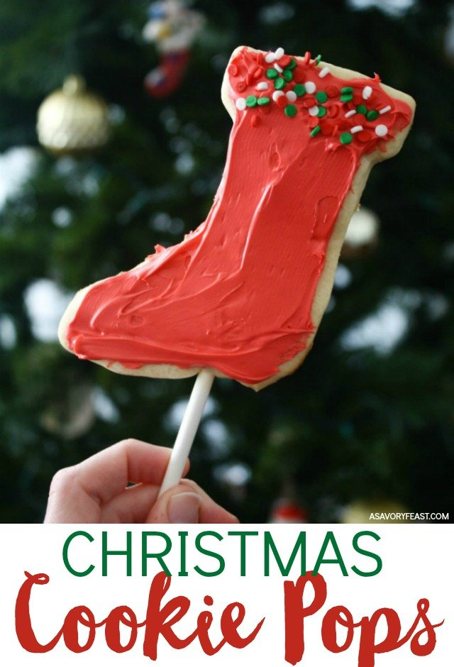 Get ready to have some holiday fun with the kids! Make these Christmas Cookie Pops for school parties, cookie exchanges or to give as gifts. This fun Christmas cookie recipe starts with a classic sugar cookie baked onto a cake pop stick and decorated with frosting and sprinkles.