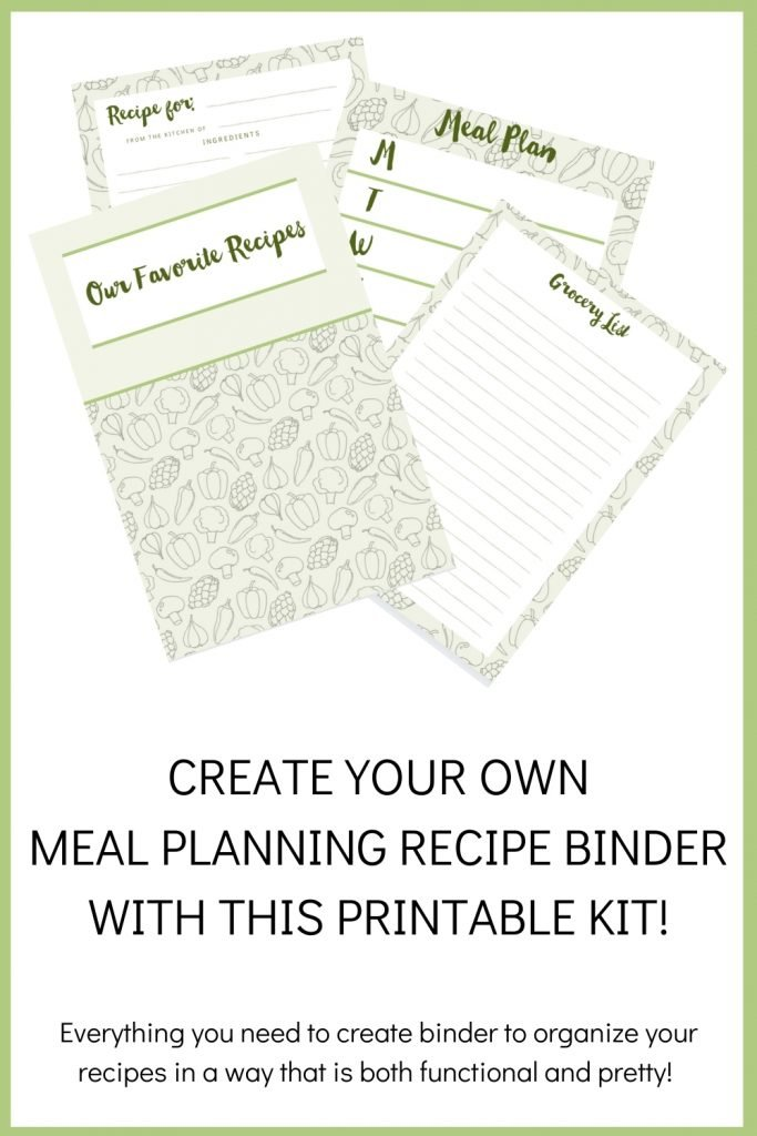 Create your own meal planning recipe binder with this printable kit! Everything you need to create a binder to organize your recipes in a way that is both functional and pretty!