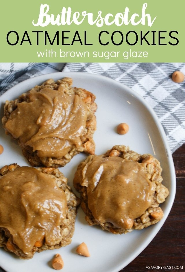 Butterscotch and oatmeal just go together in a dessert! These Oatmeal Butterscotch Cookies with Brown Sugar Glaze are simple to make from scratch and perfect for a holiday party or afternoon snack.