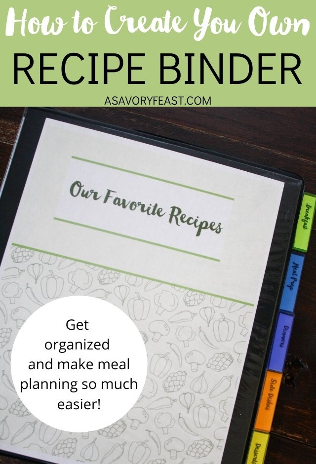 Create your own meal planning recipe binder! Organizing your recipes into one convenient place will make meal planning and cooking so much simpler for you. This post will show you step-by-step how to create a binder that is beautiful and functional.