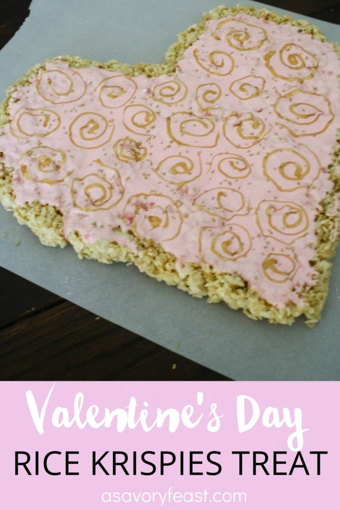 Treat someone special to this beautiful Valentine's Day Rice Krispies Treat Heart! It's a fun treat that is so easy to make. The classic Rice Krispies Treat recipe gets a romantic upgrade for the holiday.