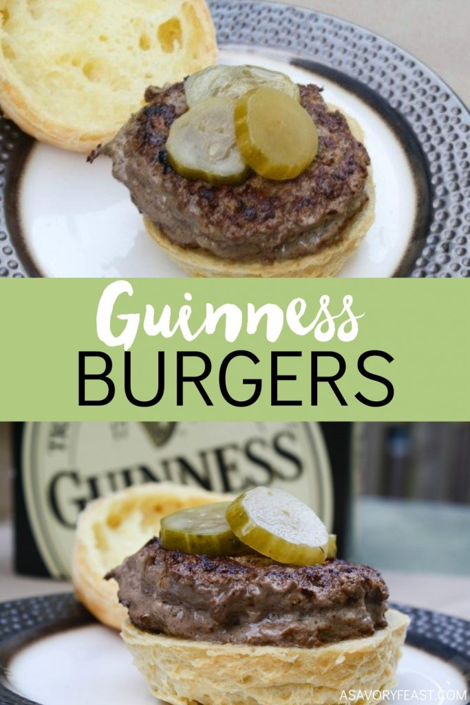 Infused with real Guinness beer, these Guinness Burgers are incredibly flavorful! The perfect meal to celebrate St. Patrick's Day.
