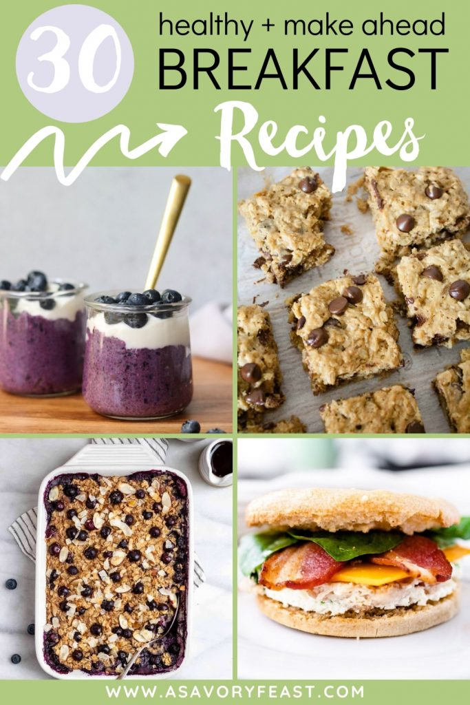 Save time and take some stress out of your busy mornings with make ahead breakfasts! Meal prep one of these easy, healthy ideas to make your mornings smoother. Ideas for muffins, bars, overnight oats, chia seed pudding, egg bakes and more.